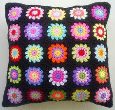 25 colors in black - Granny cushion cover by  riavandermeulen
