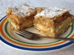 Cremekuchen mit Äpfeln und Biskuiten, Rezept