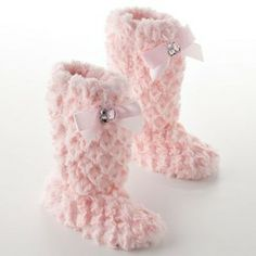 High pink fur slippers