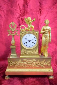 Wunderschöne feuervergoldete Empire Bronze Pendule Lambert A Boulogne um 1815