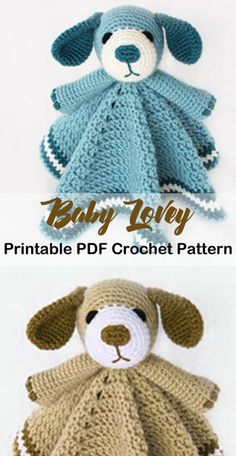 Make an adorable puppy baby lovey. Baby Lovey Crochet Patterns - Cute Gifts - A More Crafty Life Crochet Afghans, Crochet Lovey, Crochet Blanket Patterns, Crochet Gifts, Baby Blanket Crochet, Baby Patterns, Diy Crochet, Crochet Ideas, Knitting Patterns