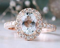 Aquamarine and Diamond Halo Engagement Ring   Prong Setting   Polished Finish   Solid 14K Gold   Fine Jewelry   Free Shipping