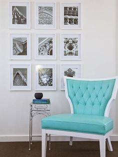 Tiffany Blue Accent Chair with Black and White Photography