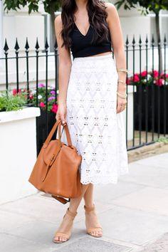 White lace midi skirt, black crop top