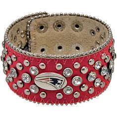 New England Patriots Women's Glitz Leather Cuff Bracelet - Red