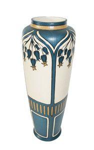 Antique Villeroy & Boch Mettlach Germany Stoneware Art Nouveau Bluebells Vase, $550