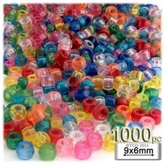 Pony Beads   Transparent   9x6mm   1,000-pc   Clear   Crafts Outlet