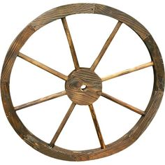 Add a rustic touch to your porch or entryway with this handcrafted wagon wheel decor.  Product: DecorConstruction Ma...