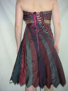 The back of the tie dress. I love the asymmetrical back corset opening!