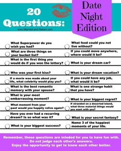 "Bring back the fun in your date nights and get to know each other all over again with this free printable of ""20 Questions; Date Night Edition."" Your next date night will be a huge success with these fun conversation starters."