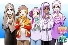 """fusha arabic song """"kun anta"""" (be yourself) Muslim Family, Muslim Girls, Muslim Women, Cartoon Girl Images, Girl Cartoon, Friend Cartoon, Islamic Cartoon, Hijab Cartoon, You Draw"""