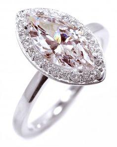 Pink Marquise Diamond Engagement Ring from OGI Ltd.   Martha Stewart Weddings