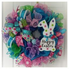 Easy DIY Easter Wreaths that are the Craftiest of All - Glam Vapours Easy DIY Easter Wreaths that are the Craftiest of All - Glam Vapours wreathsEaster Deco Mesh Wreath Spring Wreath by BrendasCreativeCakes . Wreath Crafts, Diy Wreath, Wreath Ideas, Wreath Making, Easter Projects, Easter Crafts, Easter Ideas, Diy Easter Decorations, Easter Wreaths Diy