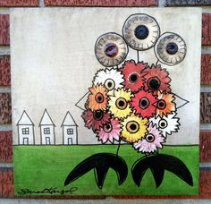 """""""stop and scare the flowers""""  monster original mixed media painting   by monsterbites, $175.50  art by sarah kargol"""