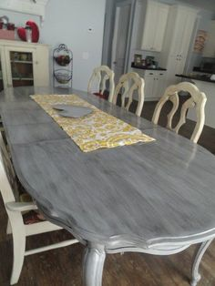 refinishing dining table gray!!long and found: diy kitchen table