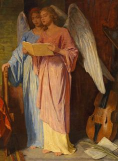 Detail from Saint Cecilia Playing Accompanied By Angels, 1886 Angels Beauty, Angel Drawing, Religious Images, Angels Among Us, Angels In Heaven, Guardian Angels, Angel Art, Realism Art, Michel