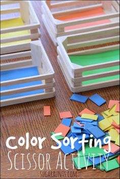 Scissor skills: line awareness, bilateral hand coordination, opening/shutting the scissors. Then sort the colors! Perfect for multiple age kids and so many skills - via Sugar Aunts. #preschool #efl #education (repinned by Super Simple Songs)