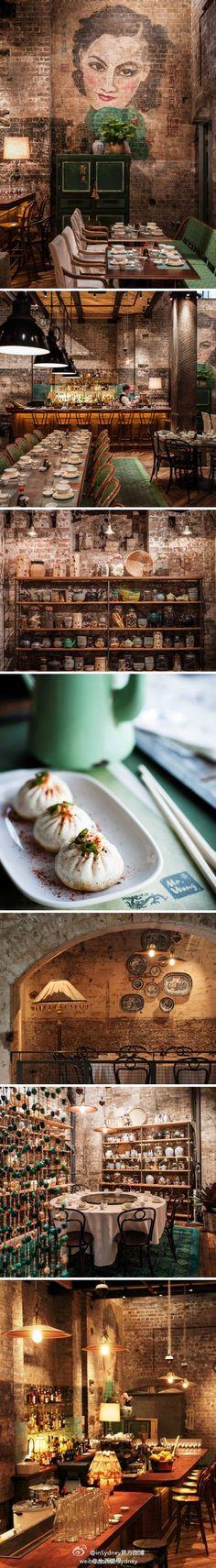 ☆Elysian Chinoiserie Interiors http://www.pinterest.com/joliesarts ∗ Chinese Old Shanghai Style. Restaurant: Mr Wong in Sydney, Australia.