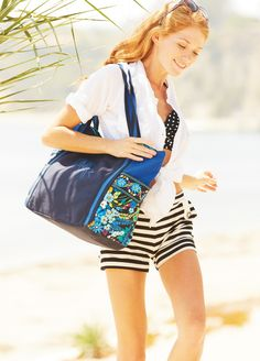 Vera Bradley Large Canvas Tote in Midnight Blues ahhhhh! I didnt even know they had these! I want it now! Lol