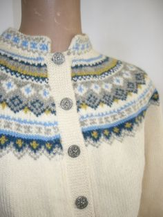 Hand Knit Vintage Norwegian Cardigan Sweater Pewter Buttons $55.00, via Etsy. Husfliden 419