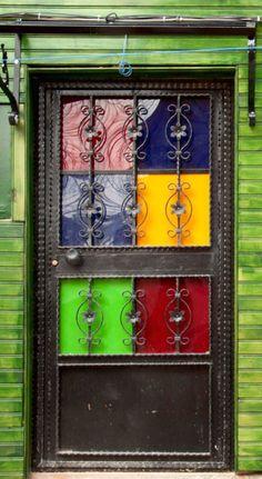 Bright colorful door in Istanbul, Turkey.