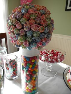 Candy Centerpiece with gumballs and lollipops