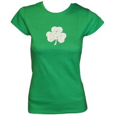 SCREEN PRINTED Ladies Shamrock T-Shirt St Patrick's Day Womens Tee... ($13) ❤ liked on Polyvore featuring tops and t-shirts