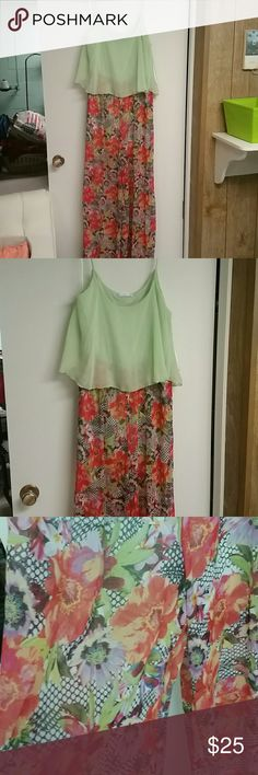 One piece green and floral jumpsuit Great addition to your summer wardrobe.   All one piece.   Light green on top, floral on bottom.   Flowy.   Tags have been removed but never worn. Potter's Pot Other