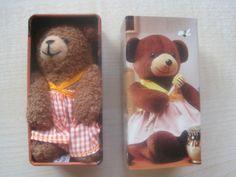 Mini Teddybär Plüschtier Stofftier in einer Blechdose 8 cm groß