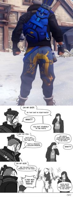 Hanzo xD // Glad I wasn't the only one to see it Paladins Overwatch, Overwatch Memes, Overwatch Fan Art, Overwatch Funny Comic, Hanzo Shimada, Funny Cute, Hilarious, Bubbline, Estilo Anime