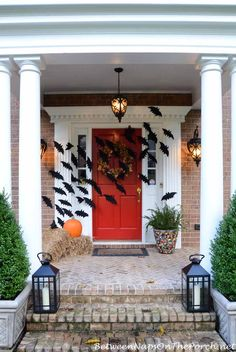 Halloween Front Porch With Bats Across Door by Between Naps on the Porch.