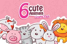 6 Cute Animals Graphic Pack