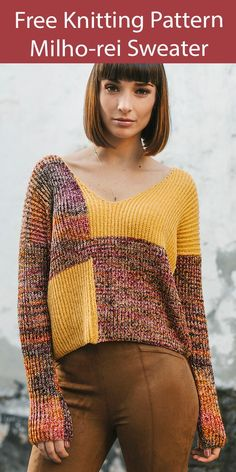 Free Sweater Knitting Pattern Milho-rei Pullover - Color-blocked cropped sweater knit with a 2 row repeat half brioche stitch. Sizes XS, S, M, L, XL, XXL. Fingering weight yarn. Designed by Filipa Carneiro.