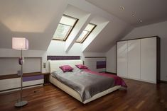 Contemporary attic room design ideas with cozy bedroom sets and brown and pink blanket facing window also wooden flooring and modern floor lamp