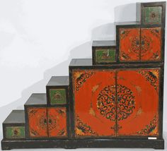 Red and Green! Vintage Tansu Cabinet Hand-Painted in the Tibetan Style from Qinghai, China. #SilkRoadCollection