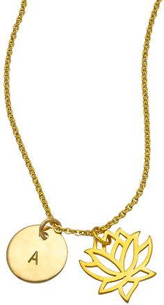 Jenny Present Gold Lotus Charm Initial Necklace