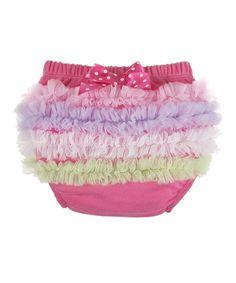 Look at this #zulilyfind! Dark Pink Rainbow Ruffle Diaper Cover - Infant by GANZ #zulilyfinds