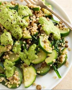 21 Health-Boosting Lentil Recipes: Green Powerhouse Pesto Plate with Millet, Green Lentils, Zucchini, Spinach. I would use some grain other than millet, though. Lentil Recipes, Vegetarian Recipes, Healthy Recipes, Healthy Foods, Salad Recipes, Clean Eating, Healthy Eating, Whole Food Recipes, Cooking Recipes