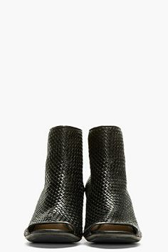 MARSÈLL Black Leather Basketwoven Ankle Booties
