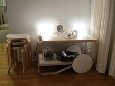 Alvar Aalto stools and tea trolley 901
