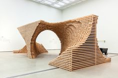 HG-architecture morphs wooden modules into pixelated spiral structure - designboom   architecture