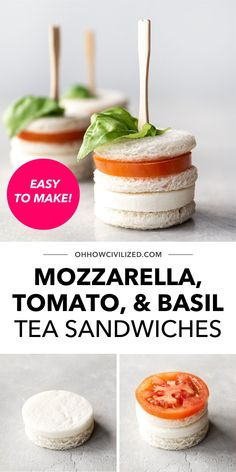 Looking for an easy finger sandwich recipe? These Mozzarella, Tomato, and Basil Tea Sandwiches are your best bet, whether you're serving them up for an afternoon tea time or at an intimate garden party! They're also very easy to make - learn how to whip up your own bath with this guide. Easy Finger Sandwiches, High Tea Sandwiches, Sandwich Recipes, Snack Recipes, Basil Tea, Hot Tea Recipes, Tea Time Snacks, How To Make Tea, Afternoon Tea