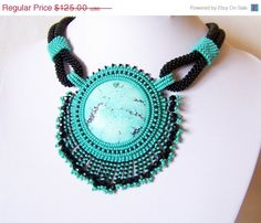 VALENTINES DAY SALE Bead Embroidery Necklace Pendant Beadwork Necklace with Turquoise - Turquoise Life - turquoise - black