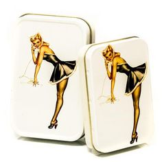 PIN UP MAID METAL TIN SET OF 2 ❤ liked on Polyvore featuring jewelry, brooches, metal brooch, pin up jewelry, pinup jewelry, metal jewellery and metal jewelry