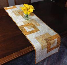 Modern Batik Table Runner Handmade Gold Quilted Tablerunner