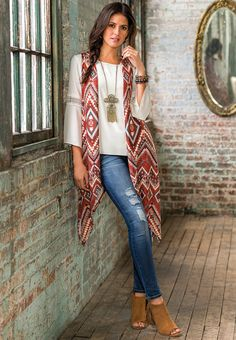 Bohemian Bliss | Expand your style horizons in this crochet trim poet top & heritage print duster vest. A long fringe necklace & fringe ankle boots mix chic style with a boho beat.