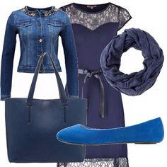 Vestitino blu e pizzo con fiocco in vita molto femminile abbinato a ballerine blu royal, borsa ampia e capiente di color blu, giubbino di jeans con pietre sullo scollo e pashmina blu.