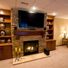 basement tv fireplace | visit houzz com