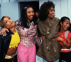 brandy norwood, the late Whitney, tboz and chili tlc Whitney Houston, Black Love, Beautiful Black Women, Cosmopolitan, Black Girl Magic, Black Girls, Black 90s Fashion, 2000s Fashion, Fashion Outfits