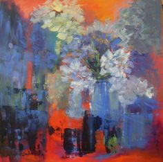 #FLOWERS IN RED (SOLD) Acrylic on Canvas, 50 x 50 x 2 cm www.aaselind.dk